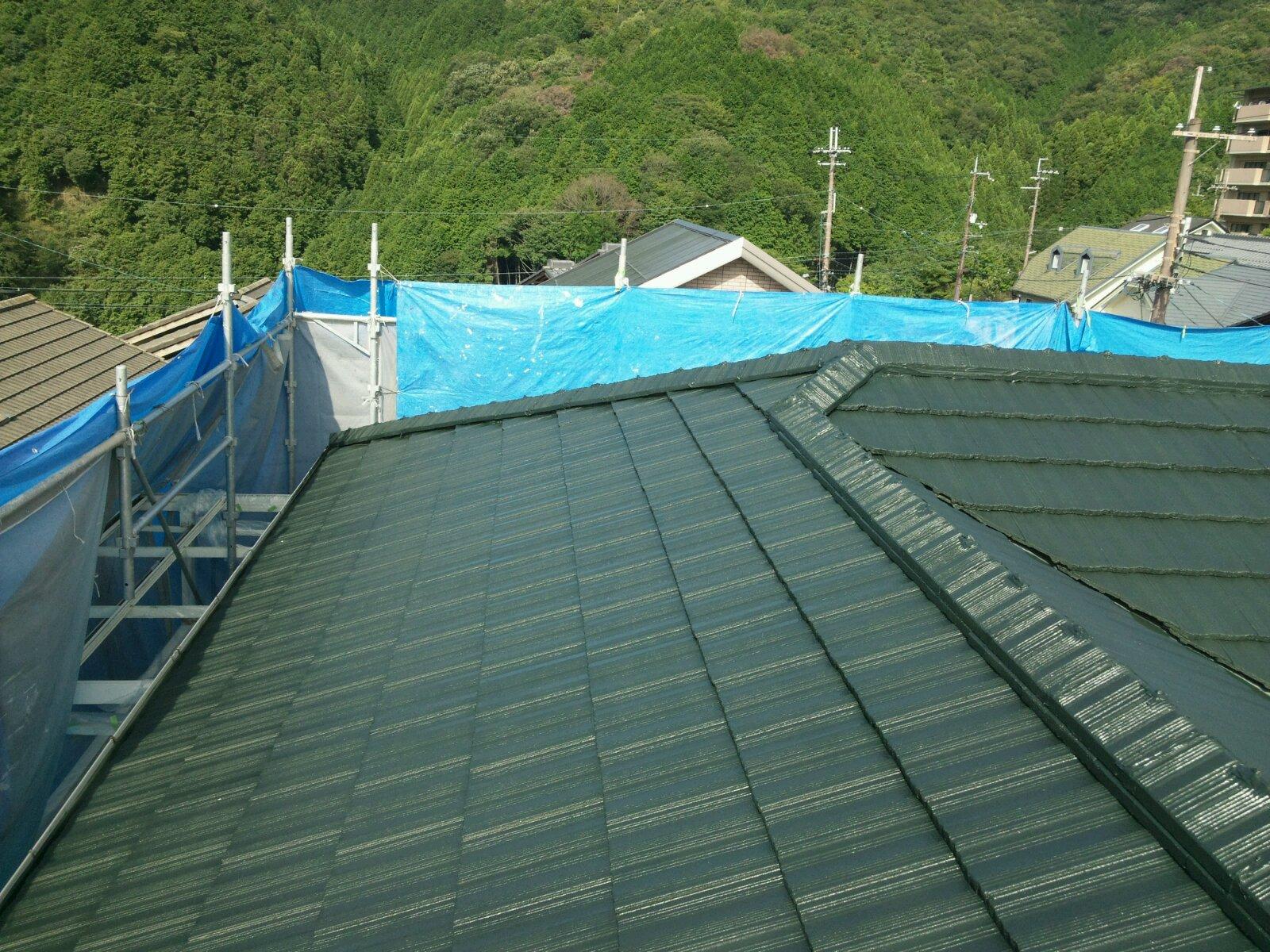 西京区宮越様邸外壁・屋根塗り替え工事の施工後写真その1