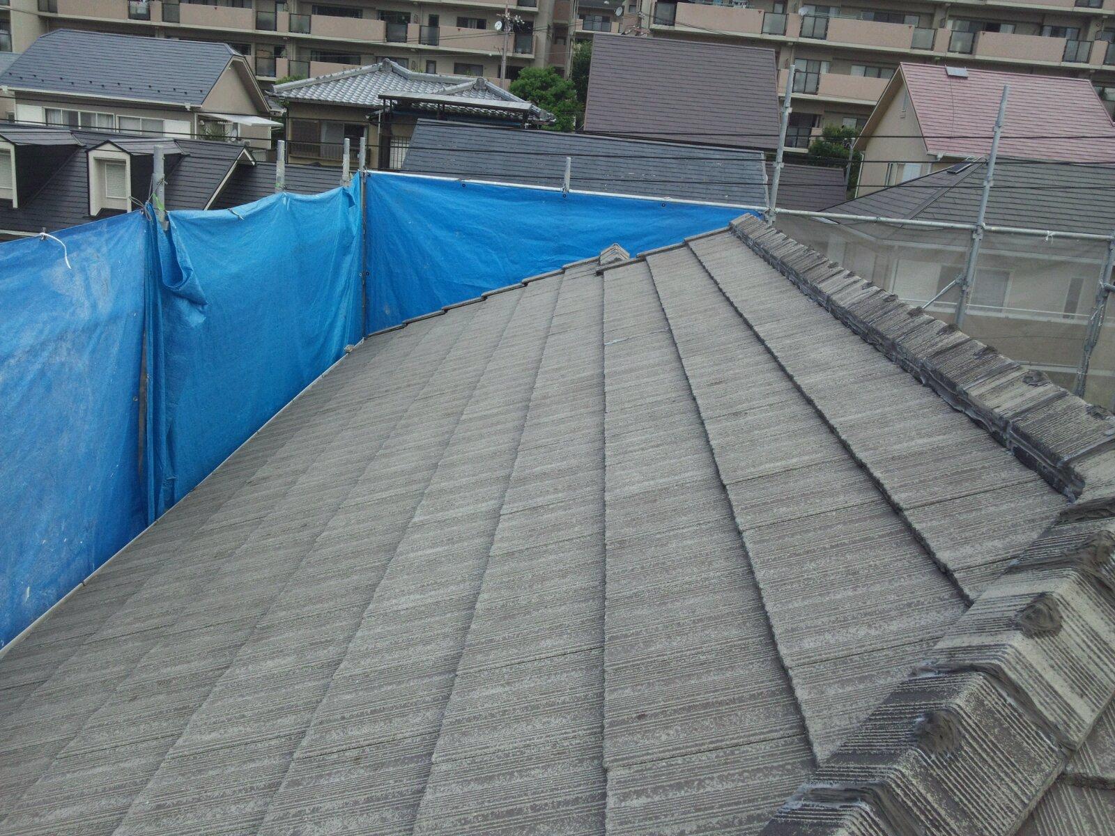 西京区宮越様邸外壁・屋根塗り替え工事の施工前写真その1