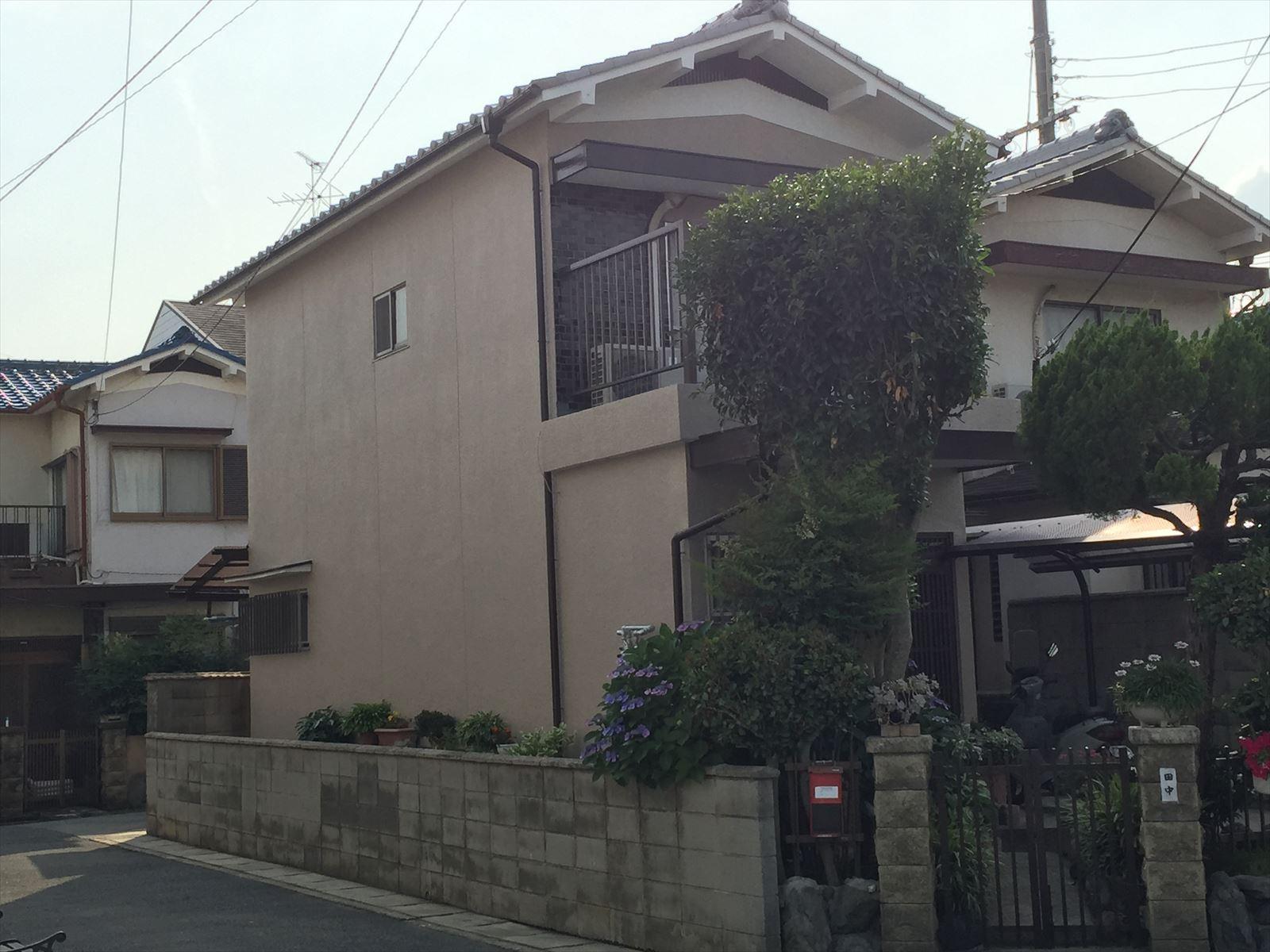 伏見区田中様邸外壁塗り替え工事の施工後写真その1