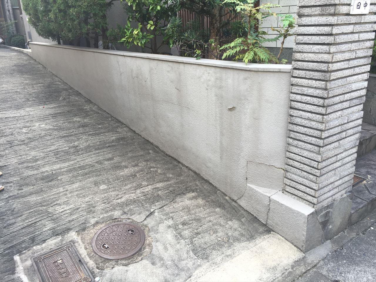 伏見区田中邸様塀塗り替え工事の施工前写真その1