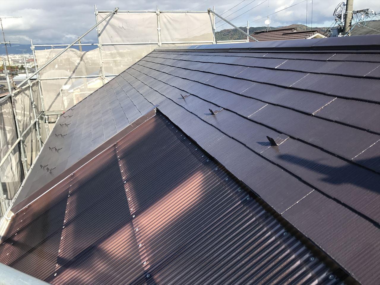 伏見区須釜様邸外壁・屋根塗り替え工事の施工後写真その1