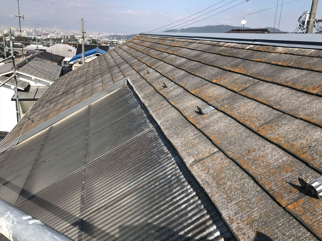 伏見区須釜様邸外壁・屋根塗り替え工事の施工前写真その1