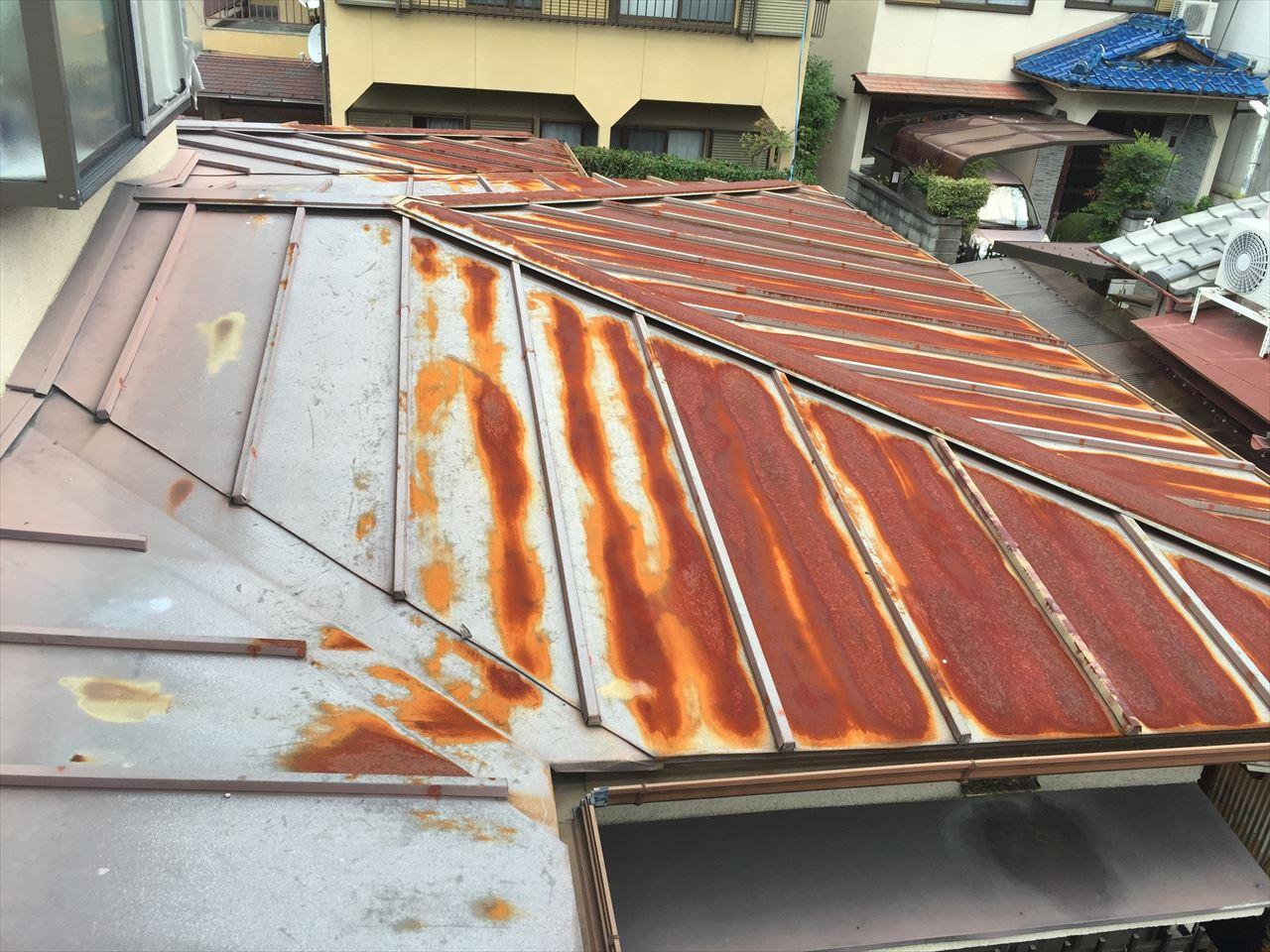 西京区村上様邸瓦棒屋根塗り替えの施工前写真その1